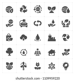 Icon set - environment filled icon style vector illustration on white background