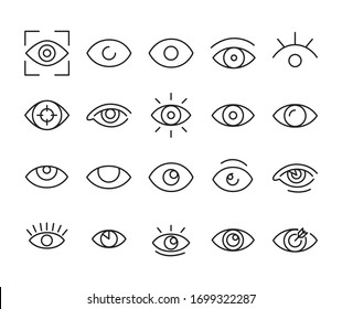 Icon set of eye. Editable vector pictograms isolated on a white background. Trendy outline symbols for mobile apps and website design. Premium pack of icons in trendy line style.
