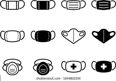 Icon set of face mask, surgical mask, N95 mask, etc.
