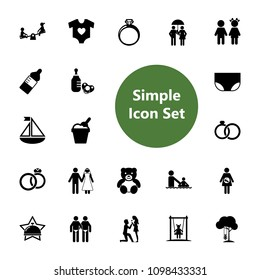 Icon set of family symbols. Human relationship, family life, matrimony. Family concept. For topics like childhood, childcare, relations