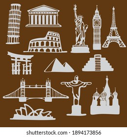 Icon set of famous landmarks in the style of paper cut with curved shape isolated on brown background