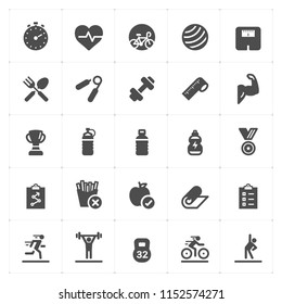 Icon set - Fitness filled icon style vector illustration on white background