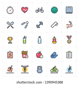 Icon set - Fitness and healthy full color outline stroke vector illustration on white background