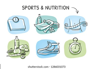 Icon set fitness, measuring tape, water, apple, running shoe, scales, stop watch and towels. Hand drawn cartoon sketch vector illustration, whiteboard marker style coloring.