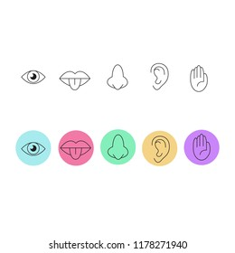Icon set of five human senses.
