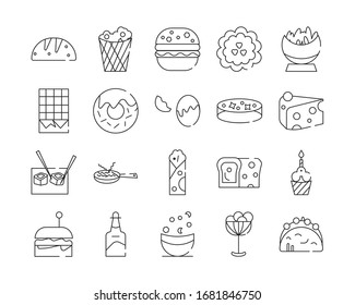 icon set of food related outline design, included as bread, hamburger, egg, pizza and more.