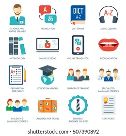 Icon set for foreign language courses and schools. Flat design. Vector illustration