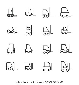 Icon set of forklift. Editable vector pictograms isolated on a white background. Trendy outline symbols for mobile apps and website design. Premium pack of icons in trendy line style.