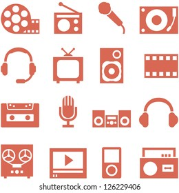 Icon set of gadgets and devices in a retro style. File in EPS10 format, that can be scaled to any size without loss of quality.