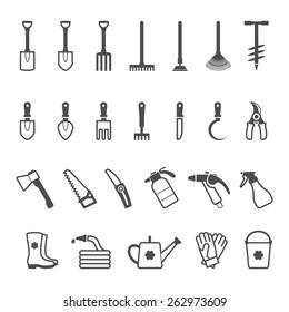 Icon set of garden tools. Vector illustration
