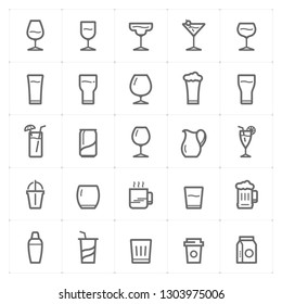 Icon set – glass and beverage outline stroke vector illustration on white background