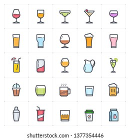 Icon set - glass and beverage outline stroke full color vector illustration on white background