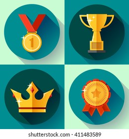 Icon set Golden symbols  awarding and victory - champion cup, crown, medal, badge ribbon. Flat design style.