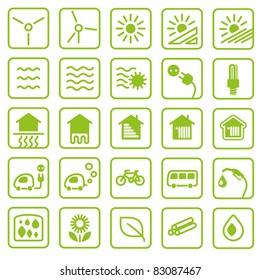 Icon set green Energy