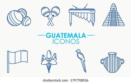 Icon set, Guatemalan culture. Several inographic representatives of Guatemala