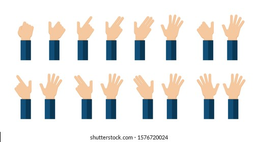 Icon set hands with fingers. Up to ten on the fingers for counting education.