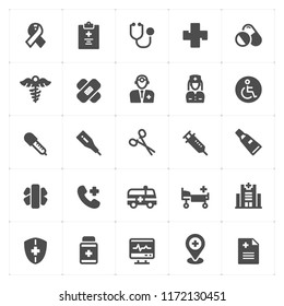 Icon set - Healthcare and Medical filled icon style vector illustration on white background