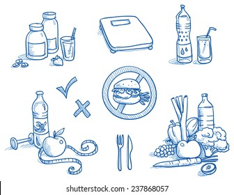 Icon set healthy food, nutrition, with measuring tape, water, apple, scales, burger, fruits and vegetables, bottle and glass. Hand drawn doodle vector illustration.