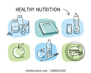 Icon set healthy nutrition , with mineral supplements, scales, water, apple, fast food burger. Hand drawn cartoon sketch vector illustration, whiteboard marker style coloring.