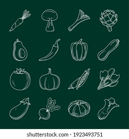 icon set of healthy vegetables over green background, sketch style, vector illustration