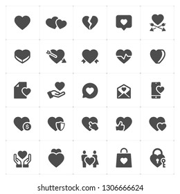 Icon set - heart and love vector illustration on white background