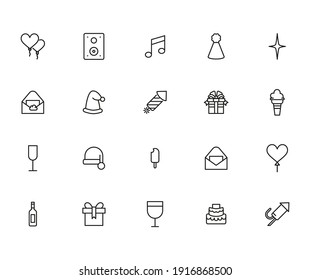 Icon set of holidays. Editable vector pictograms isolated on a white background. Trendy outline symbols for mobile apps and website design. Premium pack of icons in trendy line style.