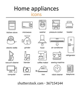 Icon set of home appliances.