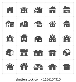 Icon set - Home filled icon style vector illustration on white background
