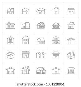 Icon set - Home thin line high detail vector illustration on white background