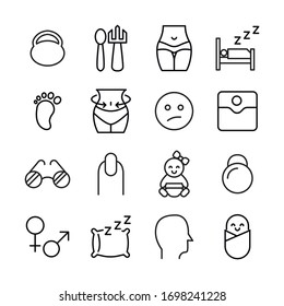 Icon set of human. Editable vector pictograms isolated on a white background. Trendy outline symbols for mobile apps and website design. Premium pack of icons in trendy line style.