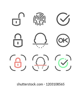 Icon set identification and unlock system on white background. Isolated Face id and Touch id linear logo collection