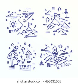 Icon Set - illustrations in a modern style, the achievement of results, the path to success, striving forward.