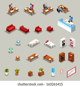 Icon Set of Isometric Office Furniture and Business Working People: Receptionist at the Desk, Colleagues, Manager, Water Cooler, Book Shelves, Flower, Sofa, Armchair, Chair, Diagram, Infographics.