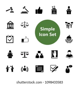 Icon set of jurisprudence signs. Court, juridical system, election campaign. Law concept. For topics like politics, justice, legislation