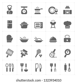Icon set - kitchen utensils and cooking vector illustration on white background
