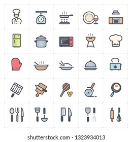Icon set - kitchen utensils and cooking full color vector illustration on white background