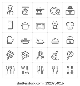Icon set - kitchen utensils and cooking outline stroke vector illustration on white background