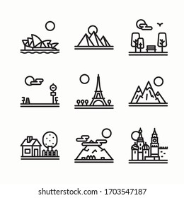 Icon Set Landscape Linear for different seasons. Line with Editable stroke