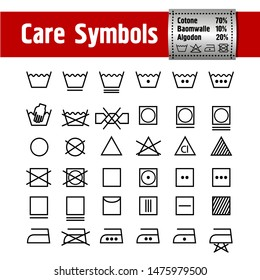 Icon Set of Laundry and Care Symbols