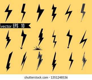 Icon set of lightning, lightning strike or thunderstorm. Icons for voltage, electricity and power signs. Vector illustration.