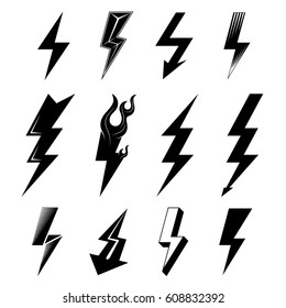 Icon set of lightnings in black-and-white colors. Graphic symbols collection of lightning bolt. Qualitative vector signs for weather, design, science, electricity, energy, danger, speed, etc