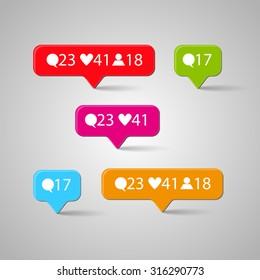 Icon set, Like, follower, comment. Vector illustration