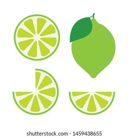 icon set lime with green leaves isolated on white background, vector illustration