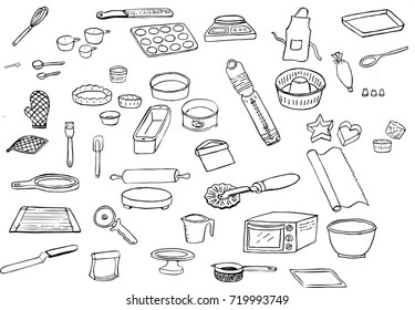 Icon set of line drawings of tools used in the kitchen for baking, muffin tray, whisk, loaf pan, rolling pin, pizza peel, oven thermometer, apron, oven mitts, micro plane zest