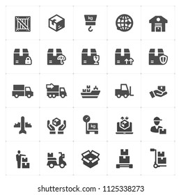 Icon set - logistic and delivery  filled icon style vector illustration on white background