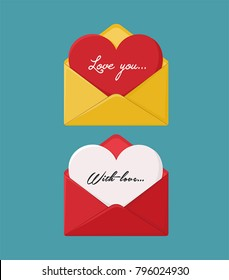 Icon set of love envelopes with hearts. Yellow envelope with a red card in the form of a heart, a red envelope with a letter in the form of a heart.