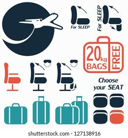 Icon set of luggage and seats for travel by plane