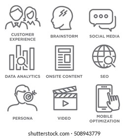 Icon Set for Marketing Strategy - SEO, mobile optimization, brainstorming, social media, data analytics, etc