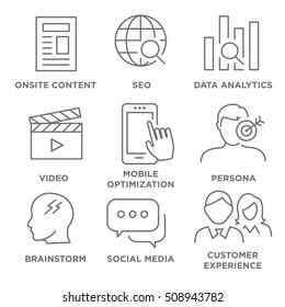 Icon Set for Marketing Strategy - SEO, mobile optimization, brainstorming, social media, data analytics, etc