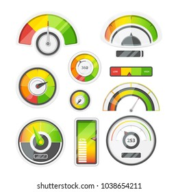 Icon set of meters, tachometer and battery level. Vector pictures set. Illustration of measurement, levels and power indicators